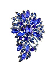 Elegant Blue Diamante Flower Brooch Pin Fashion Crystal Jewelry for Parties