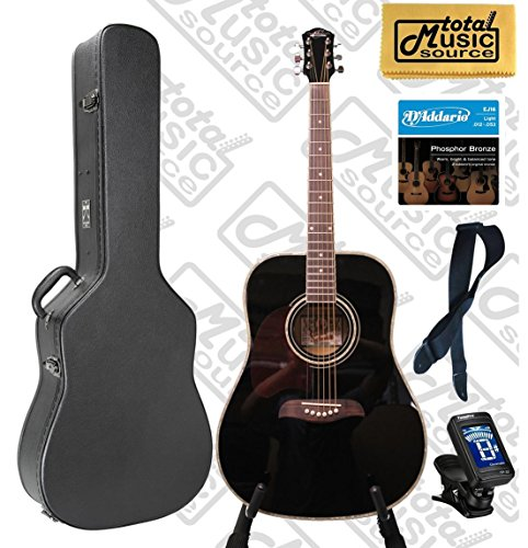 Oscar Schmidt OG2 Left Hand Dreadnought Acoustic Guitar Black Hard Case Bundle OG2BLH