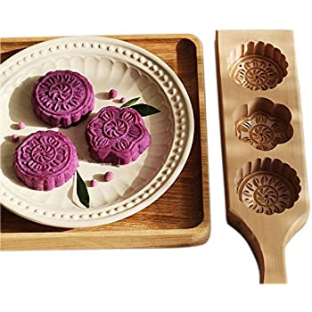 e87cde3fa JKLcom MoonCake Mold Chinese Traditional Mid-autumn Festival Moon Cake Mold  3 Flower Shape Wooden Handmade Baking Mold for Muffin Mooncake Cookie  Biscuit ...
