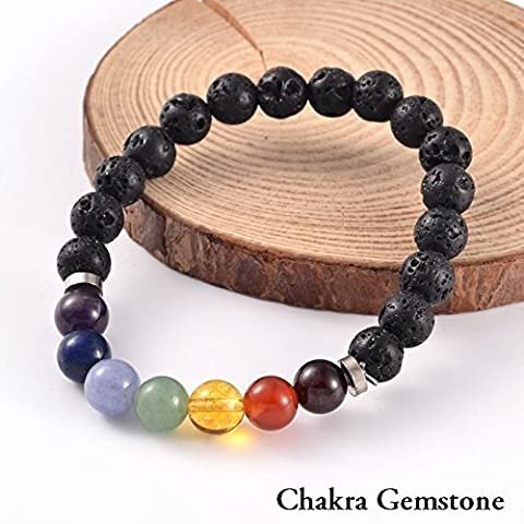 "2 for 1 Lava Rock Bead Essential Oil Diffuser 7 Chakra Healing Bracelet Gemstone Tigers Eye Combo Stretch Bracelet Health Wellness Fits Most 7.5-8.5"" Unisex 60 Day Satisfaction Guarantee 2 (Two Rock Combo)"