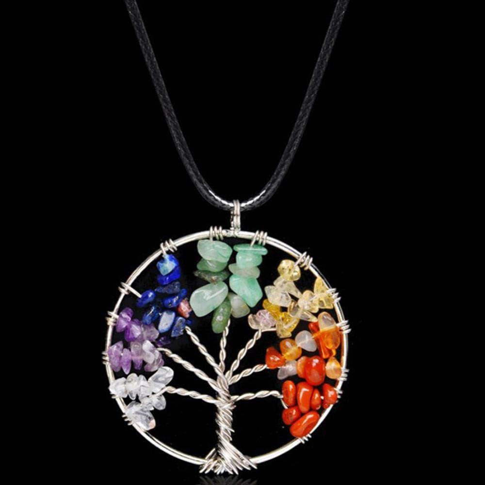 XCWXM Collar Mujer Chips De Cuarzo Colgante Mujer Rainbow Crystals Multicolor para Collar De Piedra De La Sabiduría