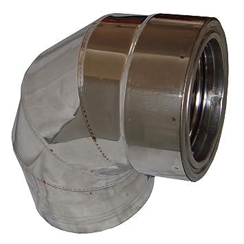 Codo de pared doble Chimney 90° aislado 80 – 350 mm tubo de escape de
