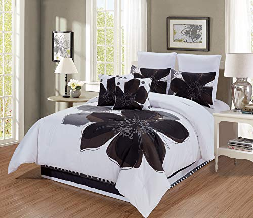 (8 - Piece Grey, White, Black Hibiscus Floral Comforter Set King Size Bedding + Accent Pillows)