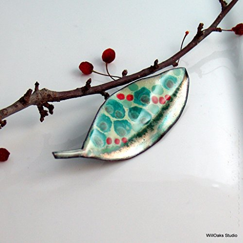 Teal and Red Copper Enameled Art Brooch, Leaf or Feather Fun (Enameled Leaf Pin)