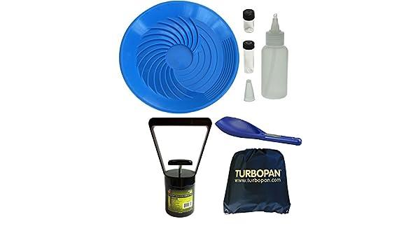 "Turbopan Gold Pan//Snuffer//Vials BLACK  10/"" VORTEX ACTION Panning Prospecting"