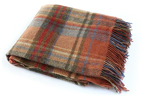 Wool Blankets Tartan (John Hanly Plaid Throw Blanket Orange Wool 75