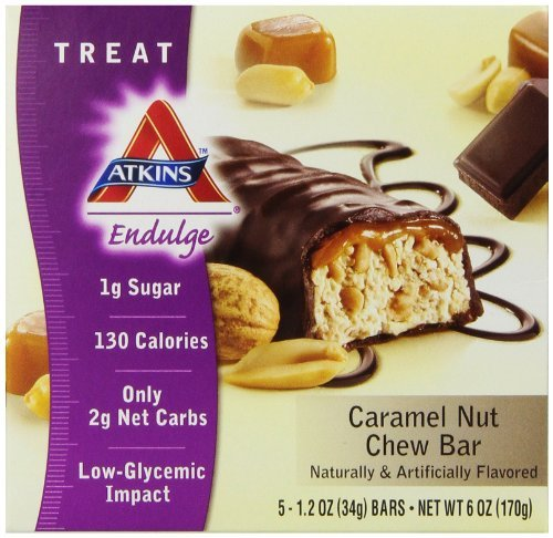 - Atkins Endulge Treats, Caramel Nut Chew, 1.2oz Bar, 5 Count by Atkins