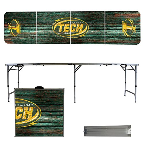 Arkansas Tech Wonder Boys & Golden Suns 8 Foot Portable Folding Tailgate Table Weathered (Tech Tailgate Pong Table)