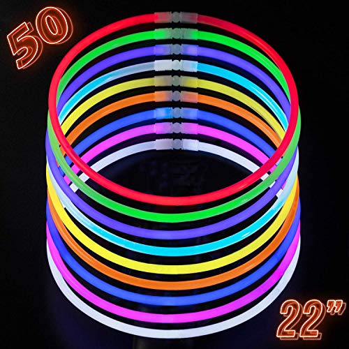 CoBeeGlow Glow Sticks Bulk Party Supplies - Light Stick Necklaces - Extra Bright Glow in The Dark Party Favors - 22