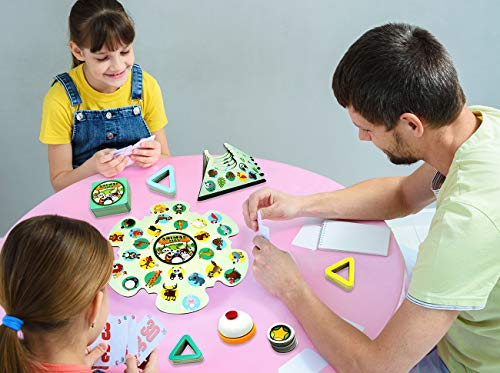 Board Game Animal Learning for Kids Ages 3 Years Up, Animal Education Card Games Cute Bear, Forest Adventure Families Games with 7 Puzzle Boards, 2-6 Players