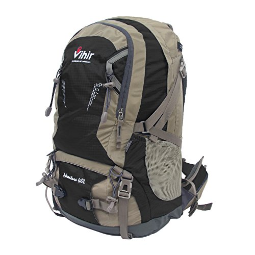 Vihir 40L Travel Hiking Backpack Waterproof with Rain Cover for Men Women, Black