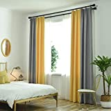 Finished Curtain Bedroom Shade Modern Minimalist Curtain Fabric Cotton Linen Living Room Floor Mosaic (Size : 2 * 2.7m)