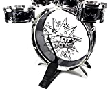 11-Piece-Kids-Dum-Set-Childrens-Musical-Instrument-Drum-Play-Set-w-6-Drums-Cymbal-Chair-Kick-Pedal-Drumsticks-Black