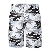 Willsa Mens Casual Printed Pocket Beach Work Shorts Camo Men Shorts Pants (XXL, Multicolor)