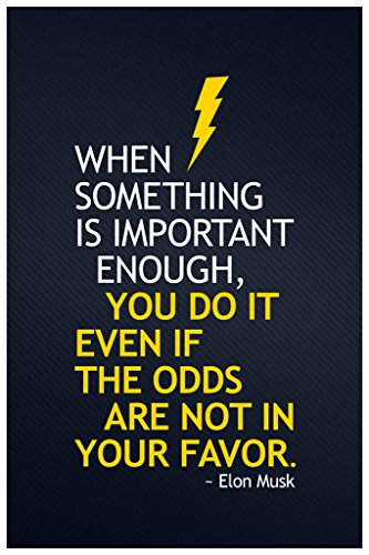 Elon Musk When Something Important You Do It Motivational Quote Poster 12x18 b4b6db5fda62