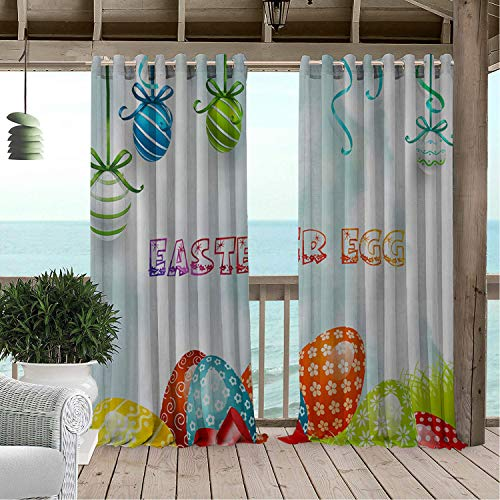 Outdoor Waterproof Curtain Happy Easter Day Easter Eggs Decoration Porch Grommets Decor Curtain 72 by 108 inch