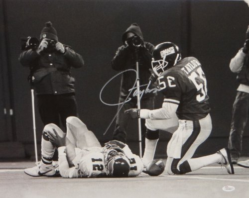 Lawrence Taylor Autographed 16x20 BW Tackle Silver Photo JSA W (Lawrence Taylor Autographed Photo)