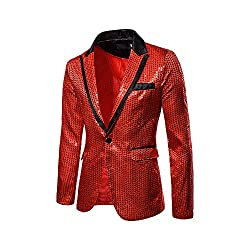 Men's One Button Sequin Jacket