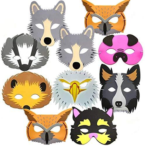 (10 Woodland & Farm Animal Foam Childrens Face Masks Made by Blue Frog)