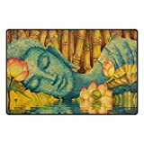 Florence Holy Buddha Meditation With Lotus Flower Area Rug Non-Slip Doormats Carpet Floor Mat for Living Room Bedroom 60 x 39 inches