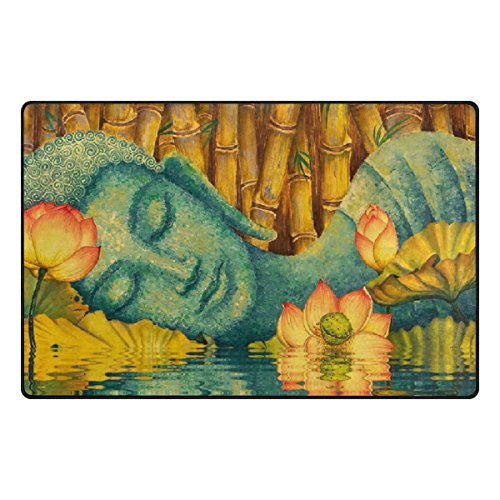 Florence Holy Buddha Meditation With Lotus Flower Area Rug Non-Slip Doormats Carpet Floor Mat for Living Room Bedroom 60 x 39 inches by Florence