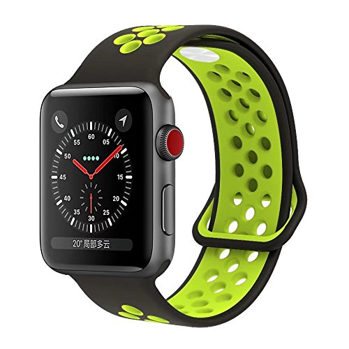 YC YANCH Greatou Compatible for Apple Watch Band 38mm,Soft Silicone Sport Band Replacement Wrist Strap Compatible for iWatch Apple Watch Series 3/2/1,Nike+,Sport,Edition,M/L,Black Volt