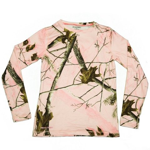 Pink-Camo-Shirt-Womens-Thermal-Crew-Neck