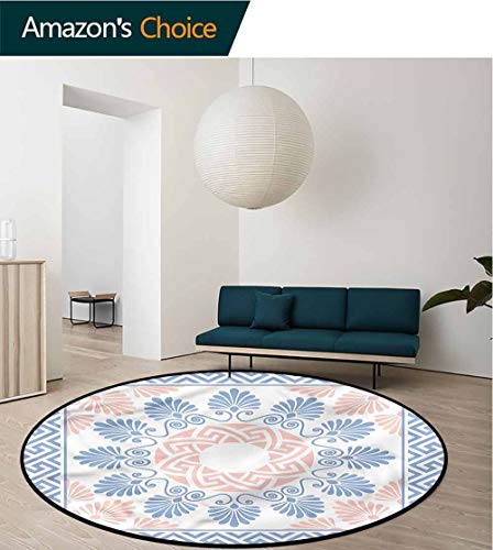 RUGSMAT Greek Key Computer Chair Floor Mat,Pastel Floral Grecian Baby Room Decor Round Carpets Diameter-63 ()