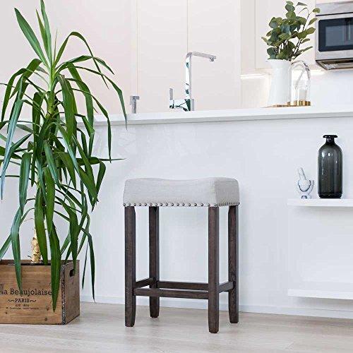 "Nathan Home 21302 Hylie Nailhead Wood Kitchen Counter Bar Stool, 24\"", Gray Upholstered Fabric Cushion, Dark Gray Finish"