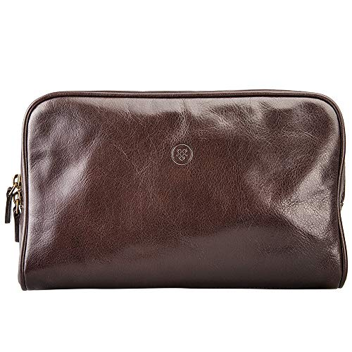 - Maxwell Scott Men's Sleek Real Leather Dopp Kit - Raffaelle Brown