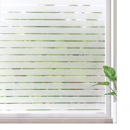 RABBITGOO Frosted Window Clings Privacy Etched Glass Window Film Window Frosting Film Non-Adhesive Window Stickers, 44.5x150cm (Frosted Stripe,17.5'' x 59'') by RABBITGOO (Image #9)