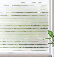 Rabbitgoo Window Clings Privacy Etched Glass Window Film Window Frosting Film Non-Adhesive Window Stickers, 44.5x150cm (Frosted Stripe,17.5 x 59)
