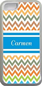 Carmen Blue Chevron Name Design iPhone 5c Case Cover (Clear Rubber with bumper protection) for Apple iPhone 5c sell on Zeng case