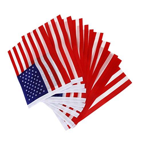 12Pcs American USA US Hand Waving Flag Mini Banner with poles (F1 Racing Flags)