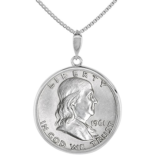 Sterling Silver Franklin Half Dollar Coin Necklace Prong Back Round Edge 1948 - 63