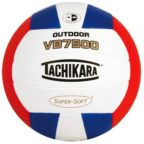 Tachikara VB7500 SUPER-SOFT Composite Leather Stitched Outdoor Volleyball (Scarlet/White/Royal)