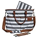 Diaper Bag for Stylish Moms (Multiple Color Options), Grey/White, Premium Cotton Canvas Tote Bag, 13 pockets Including Insulated Bottle Holders, by MommyDaddy&Me