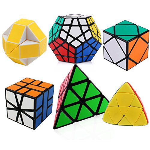 Dreampark Speed Cube Set, Pyramid, Megaminx, Oblique, Mastermorphix, Square-1 SQ1 and Magic Snake Yellow and White Twisty Toy Puzzles - Perfect Puzzle Box for Kids, Teens, and Adults Set of 6