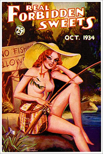 October 1934 Real Forbidden Sweets No Fishing Allowed Vintage Classic Pinup Girl Retro Cover Art Poster - 24x36