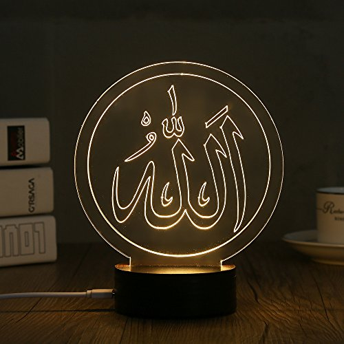 3D LED Night Light Desk Table Lamp Home Decoration Muslim Style (MSL-D) (Contemporary 3 Stone)