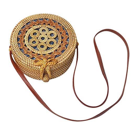 Womens Weave Circle Bags,Retro Handwoven Round Rattan Bags Straw Natural Chic Handbags Shoulder Bags (Khaki-4, 1PC)