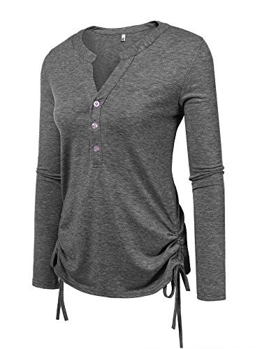 Thermal Henley Tank (Zeagoo Womens Long Sleeve Thermal Cotton Henley Casual T-Shirt,Small,(A)dark Grey)