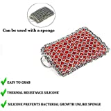 KITCHEN-PRO Cast Iron & Pyrex & Stainless Steel skillet Chainmail scrubber & cleaner With Silicone Insert Premium 316 Stainless Steel with Life Time Warranty