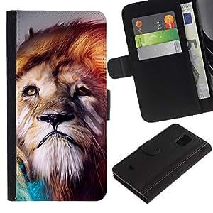 Samsung Galaxy S5 Mini / SM-G800 (Not For S5!!!) , la tarjeta de Crédito Slots PU Funda de cuero Monedero caso cubierta de piel ( Lion Wind Majestic Creature Animal Nature)