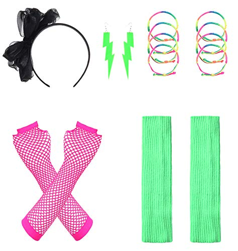 JustinCostume Women's 80s Outfit Accessories Neon Earrings Leg Warmers Gloves ()