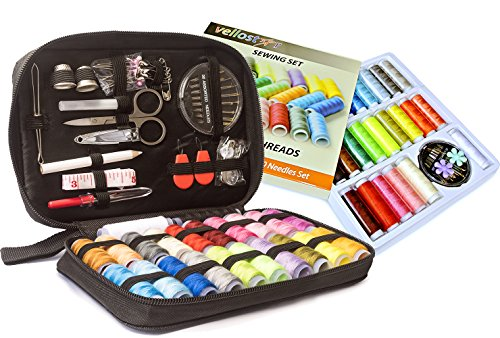 Big Sewing KIT and Sewing Set with 24-Color Threads Bundle- for All-Purpose Sewing Repairs at Home & in The Office. Complete Sew Kit with Mixed Color Threads for Maximum Satisfaction by VelloStar