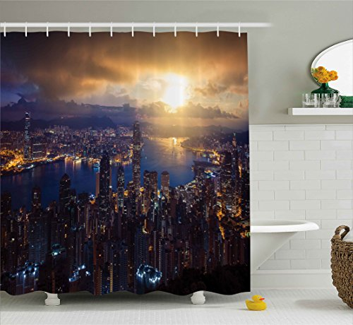 Ambesonne Urban Decor Shower Curtain By  Aerial Skyline Of Night Victoria Peak Hong Kong Skyscrapers Metropolis Image  Fabric Bathroom Decor Set With Hooks  70 Inches  Blue Golden