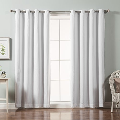 Best Home Fashion Solid Cotton Blend Blackout Curtains – Stainless Steel Nickel Grommet Top – White – 52″W x 84″L – (Set of 2 Panels)