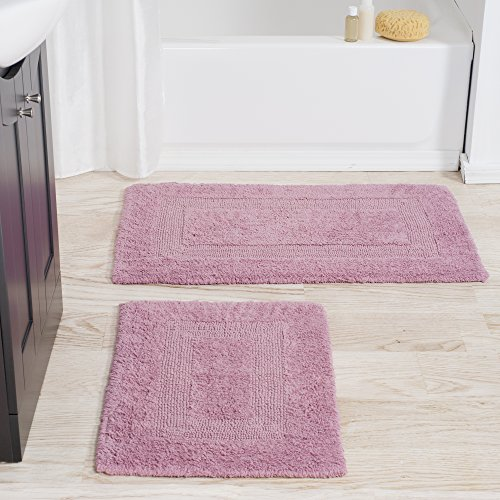 Cotton Bath Mat Set- 2 Piece 100 Percent Cotton Mats- Reversible, Soft, Absorbent and Machine Washable Bathroom Rugs By Lavish Home (Rose) (Rug Bathroom Pink Sets)