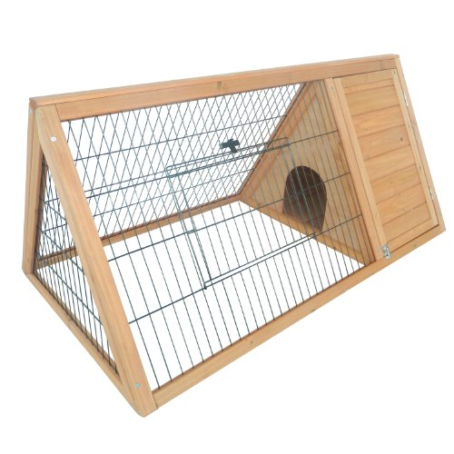 5199OvgsiNL - Pawhut Outdoor Triangular Wooden Bunny Rabbit Hutch/Guinea Pig House with Run